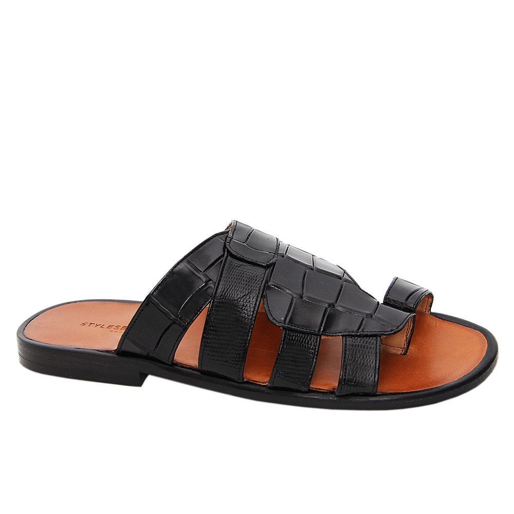 Black Bruno Italian Leather Slippers