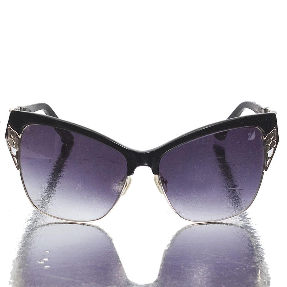 Black Silver Dark Lens Butterfly Sunglasses