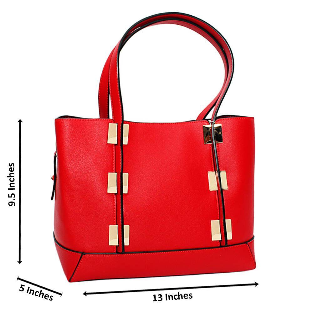 Red Mariella Leather Medium Tote Handbag