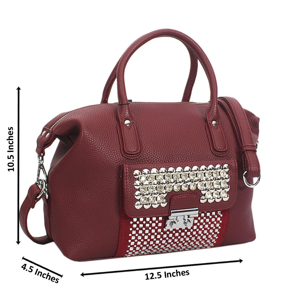 Burgundy Megan Studded Leather Tote Handbag