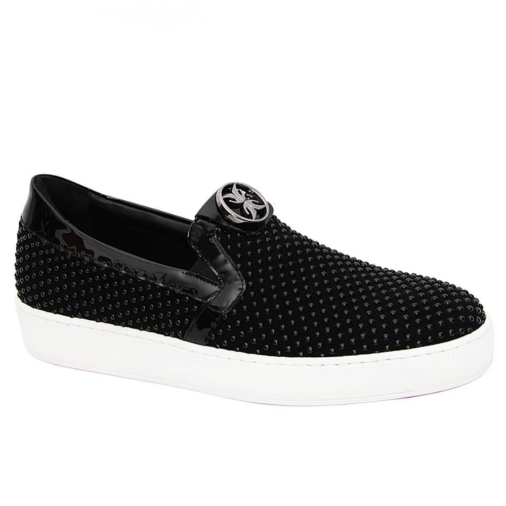Black Vinicio Pearl Studded Italian Leather Slip-On Sneakers