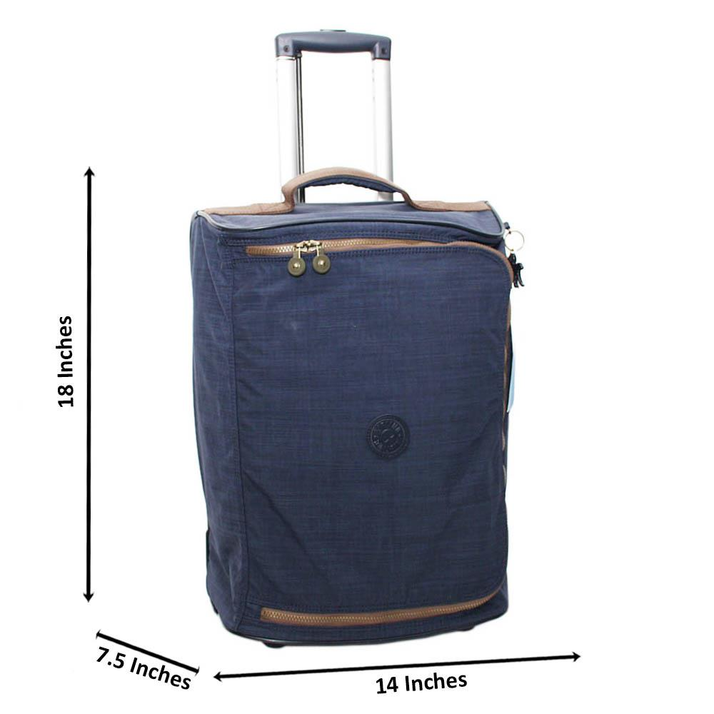 Navy Modric Fabric 18 Inch Carry-On Luggage