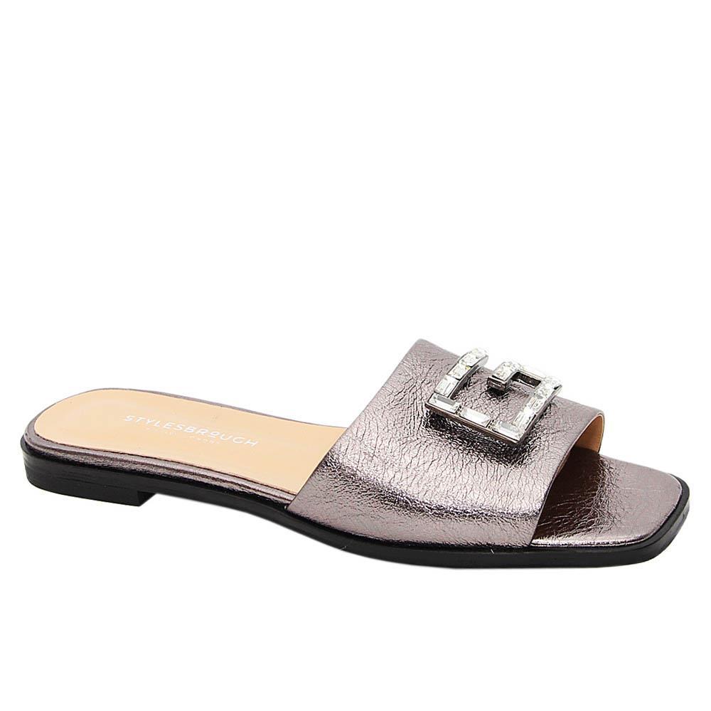 Metallic Gray Alexa G Crystals Tuscany Leather Women Slippers