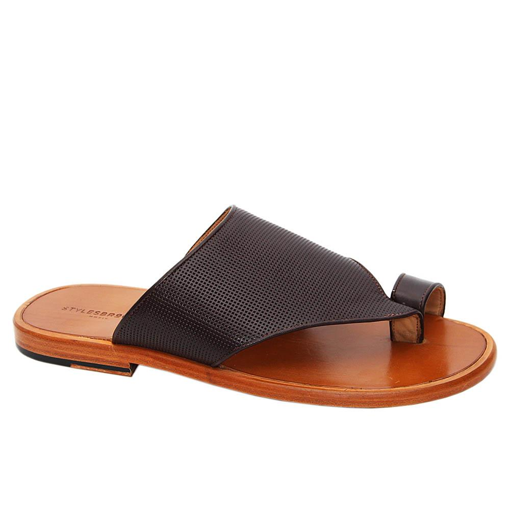 Coffee Santorini Italian Leather Slippers