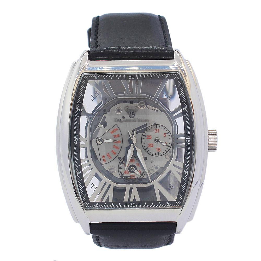 DR 3ATM Silver Black Leather Skeletal Chronograph Watch