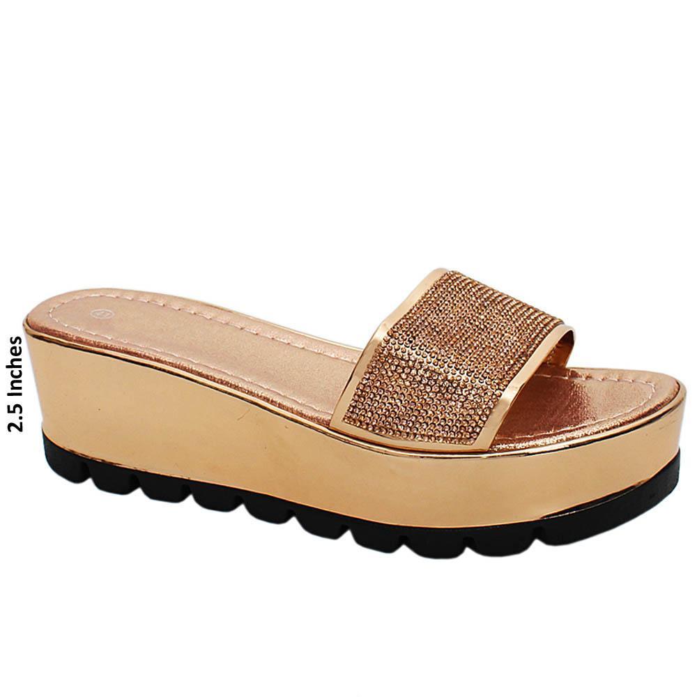 Rose Gold Nancy Studded Leather Wedge Heels