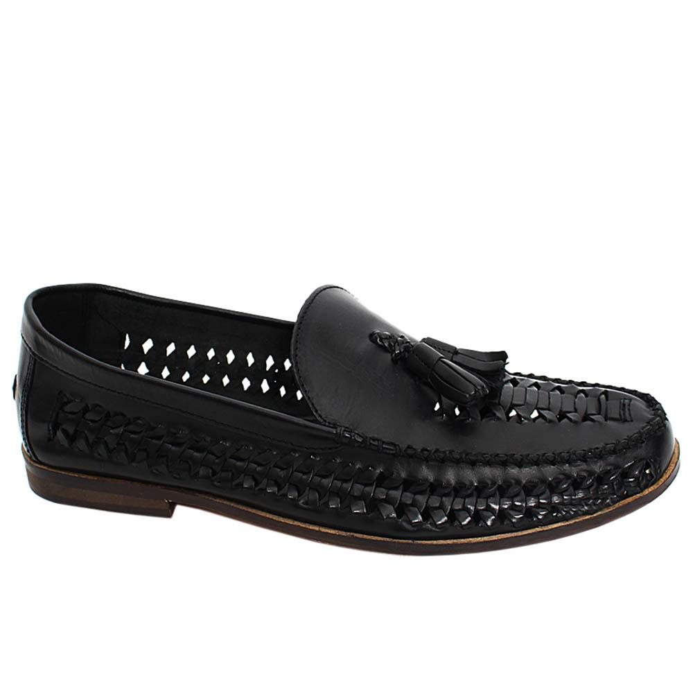 Black Benedict Hand-Woven Leather Men Loafers