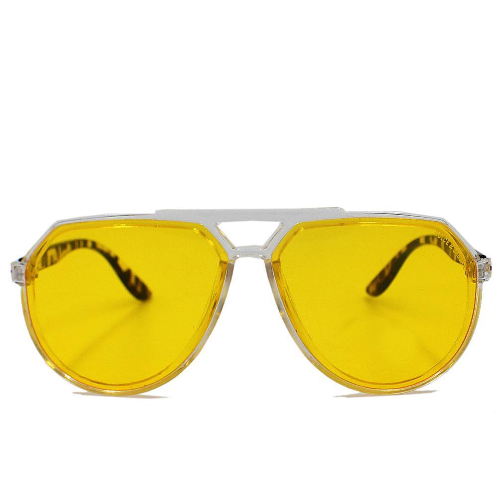 Transparent Yellow Aviator Enamel Wide Face Sunglasses