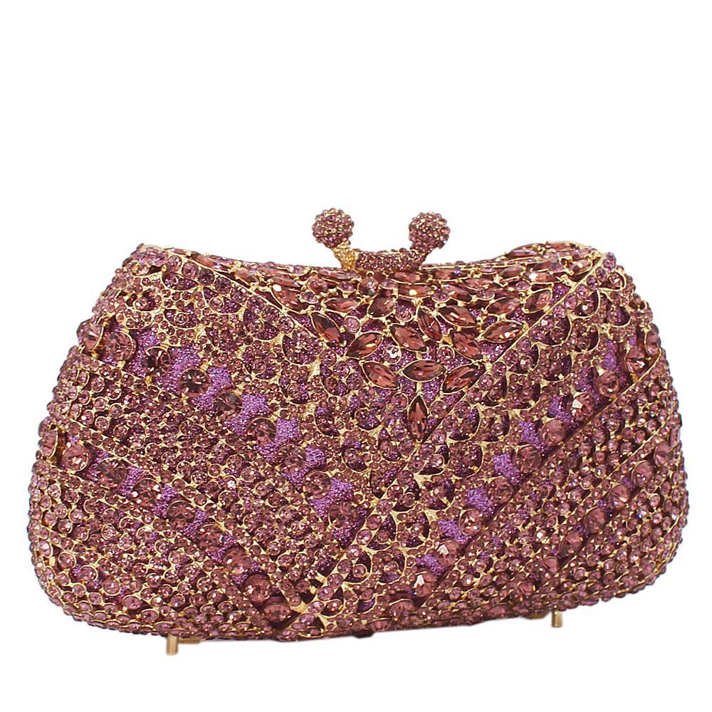Purple Diamante Crystals Clutch Purse