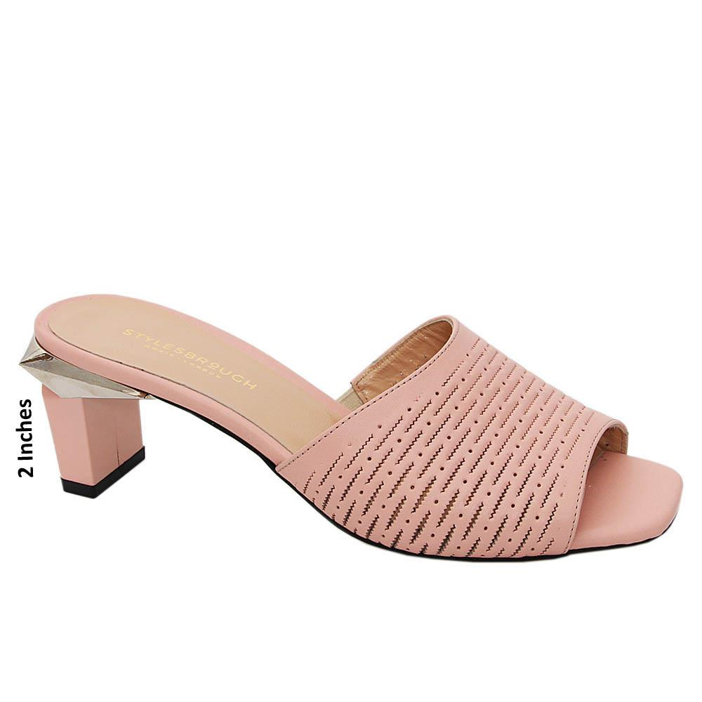 Baby Pink Andrea Tuscany Leather Mid Heel Mule