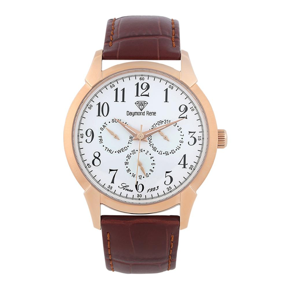Brown Rose Gold Leather Chronograph Watch