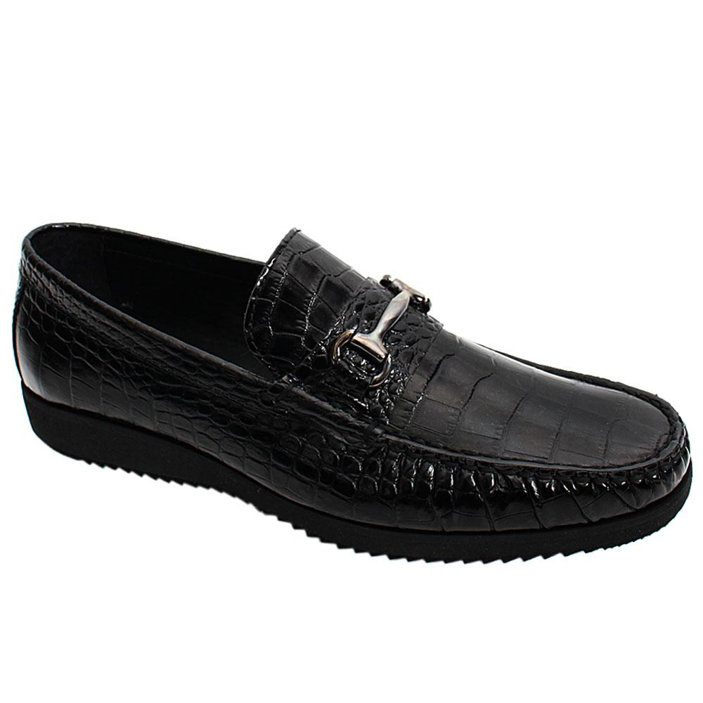 Black Croco Italian Leather Men Loafers
