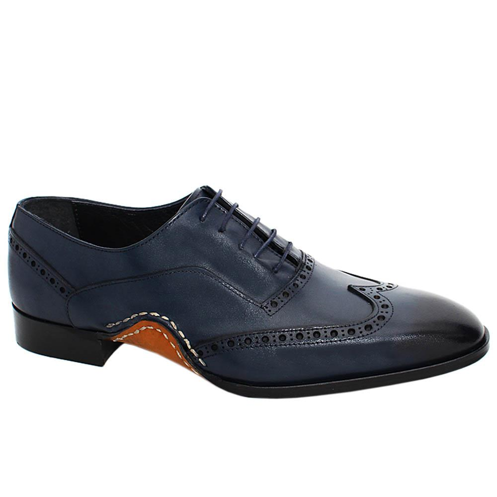 Navy Oscar Perry Wrap Sole Leather Oxford Shoes