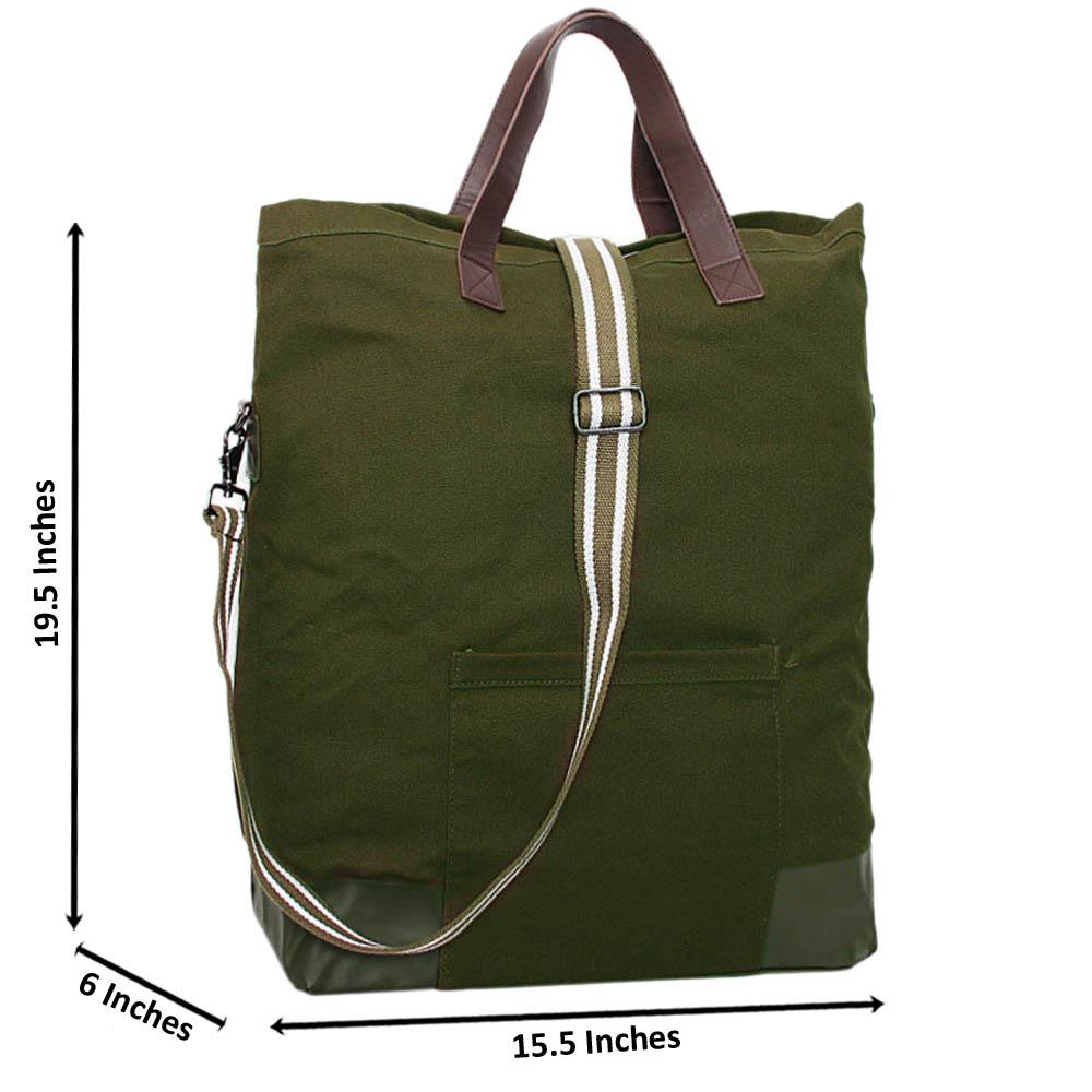 Army Green Raymond Khaki Fabric Over Sized Travel Bag