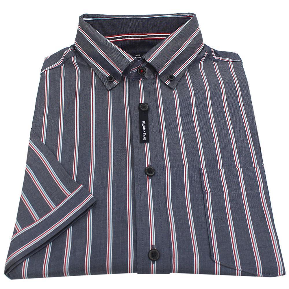 Blue Multicolor Stripe S/Sleeve Men Shirt Sz 14.5
