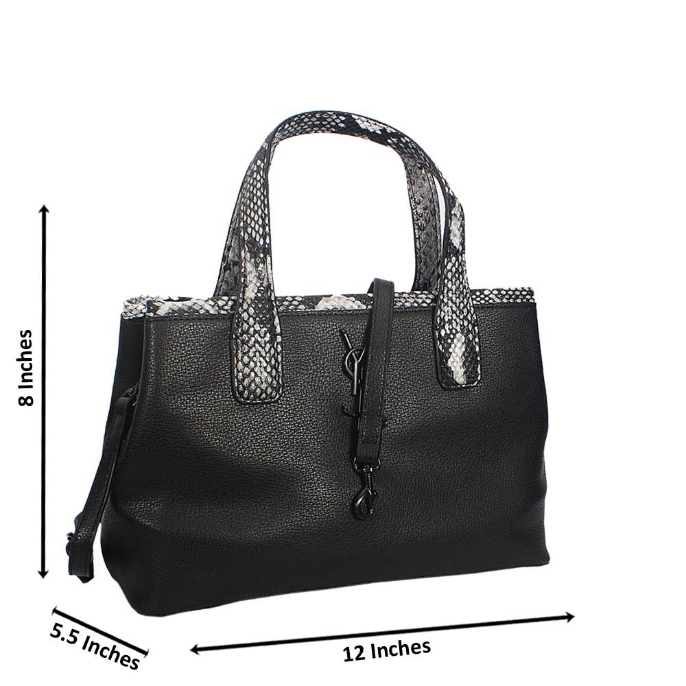 Divya Black White Embossed Python Tote Handbag