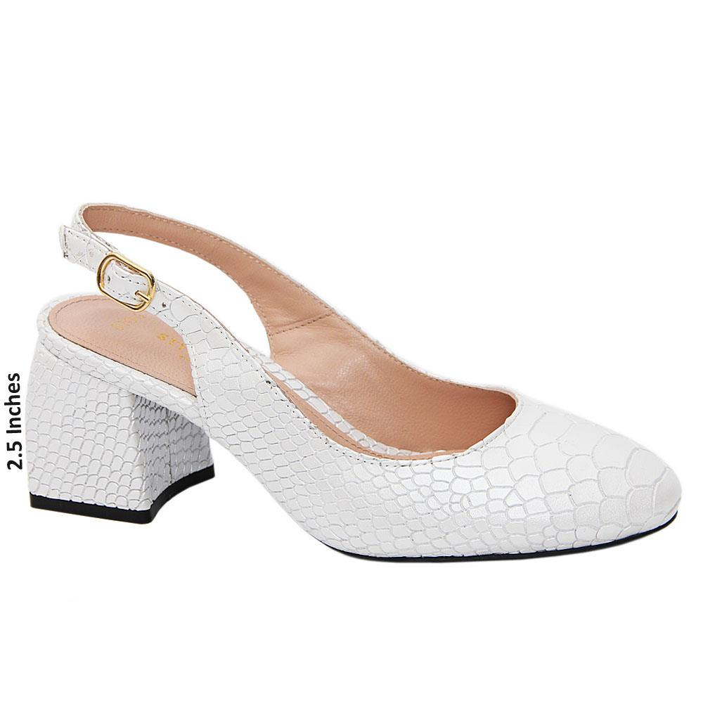 White Eva Tuscany Leather Mid Heel Slingback Pumps