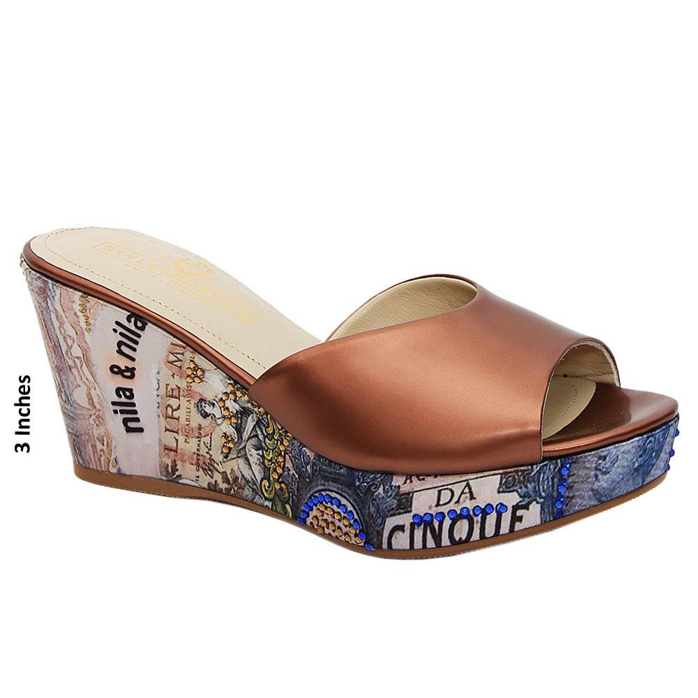 Brown Valerie Graphic Print Italian Leather Wedge