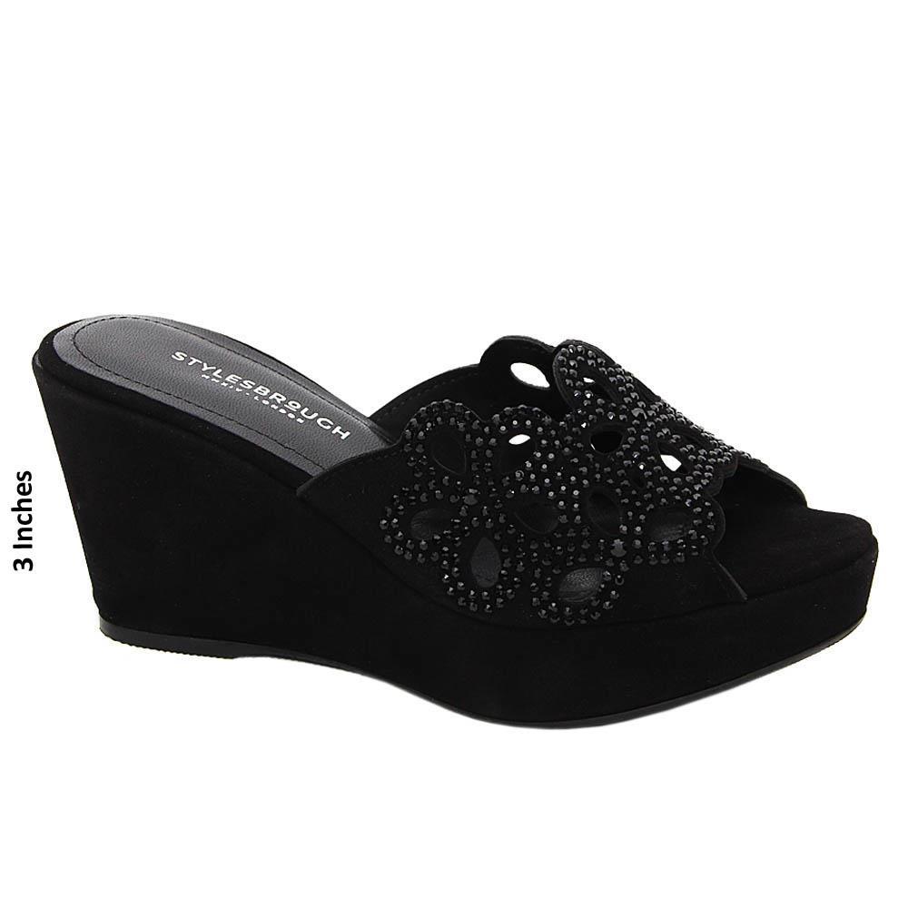 Black Studded Vera Tuscany Suede Leather Wedge