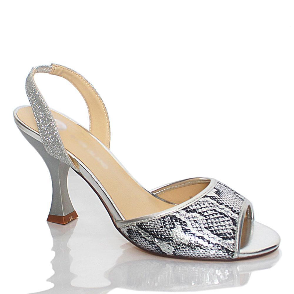 Silver Anne Shimmering Sequins Leather High Heel