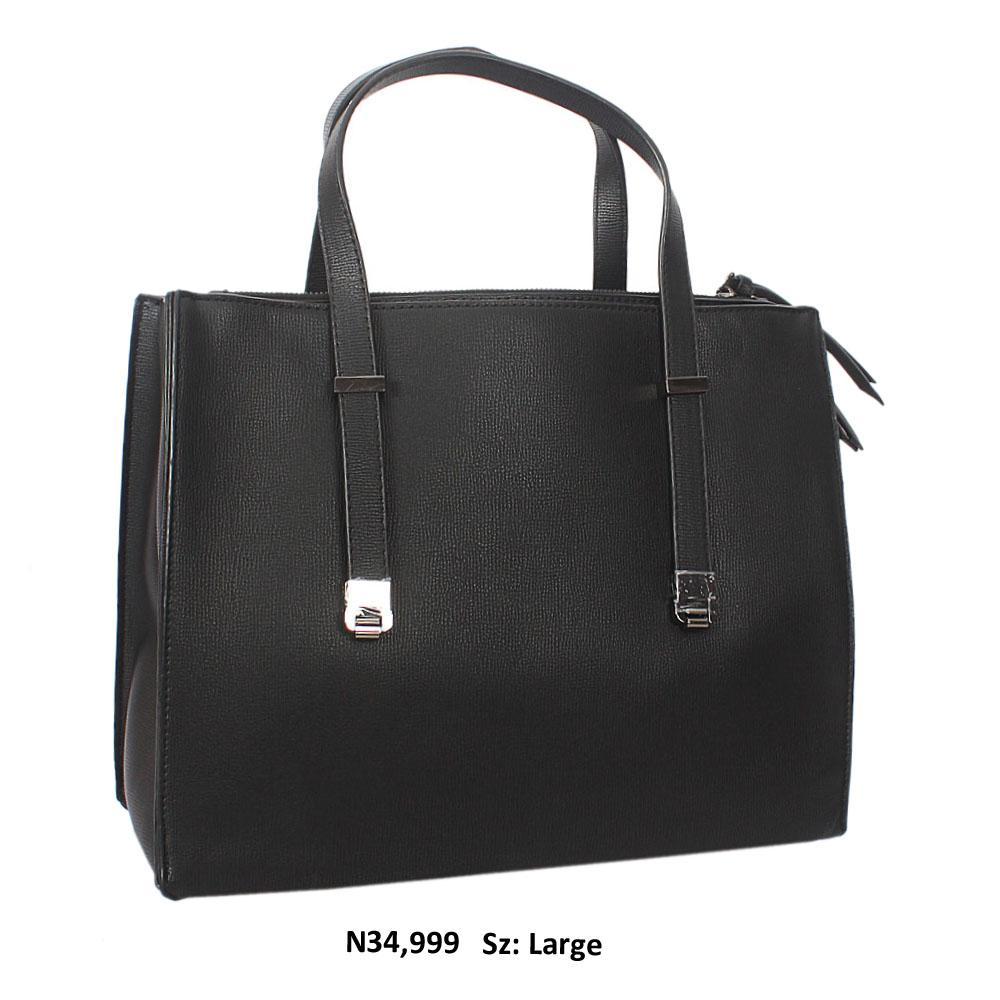 Black Nina Leather Tote Handbag