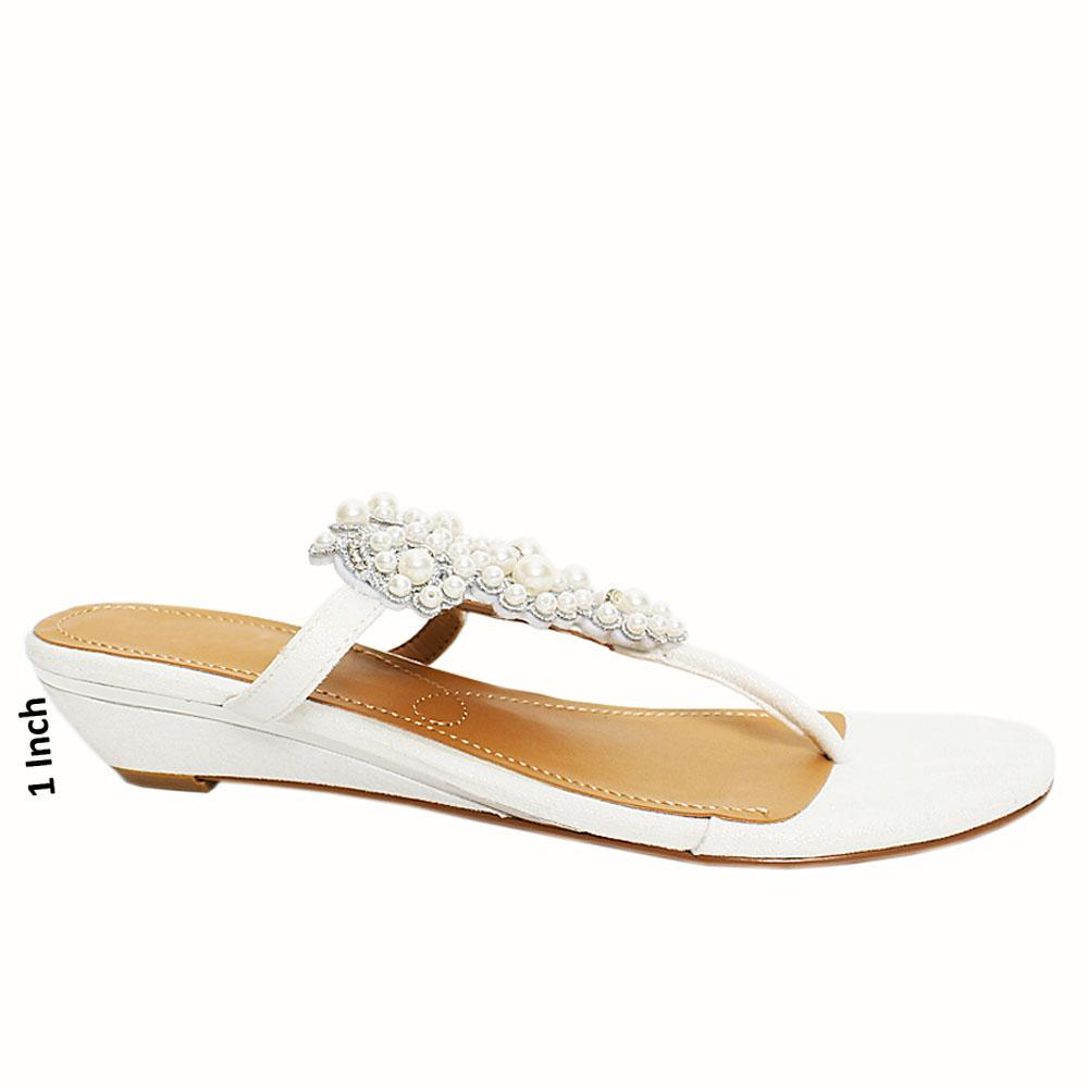 White Mazen Pearl Studded Leather low Wedge