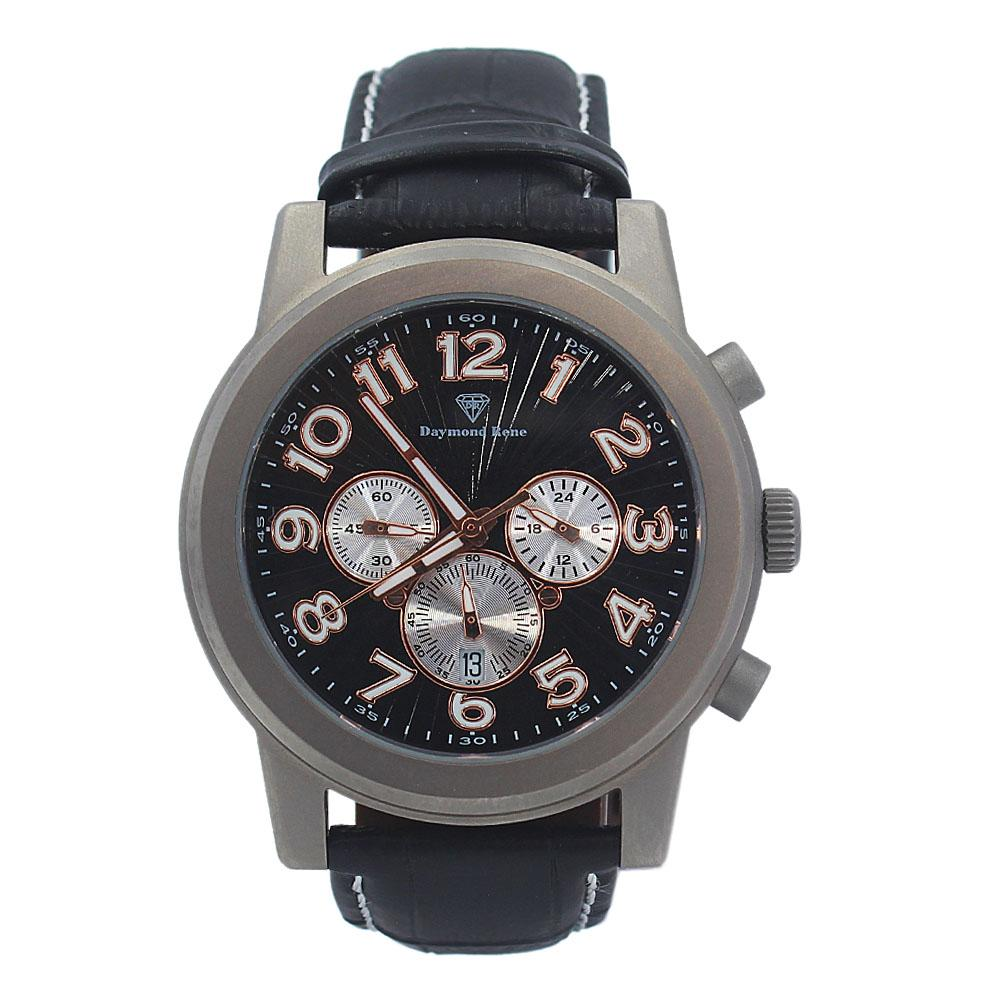 DR 10ATM Black Leather Titanium Chronograph Watch