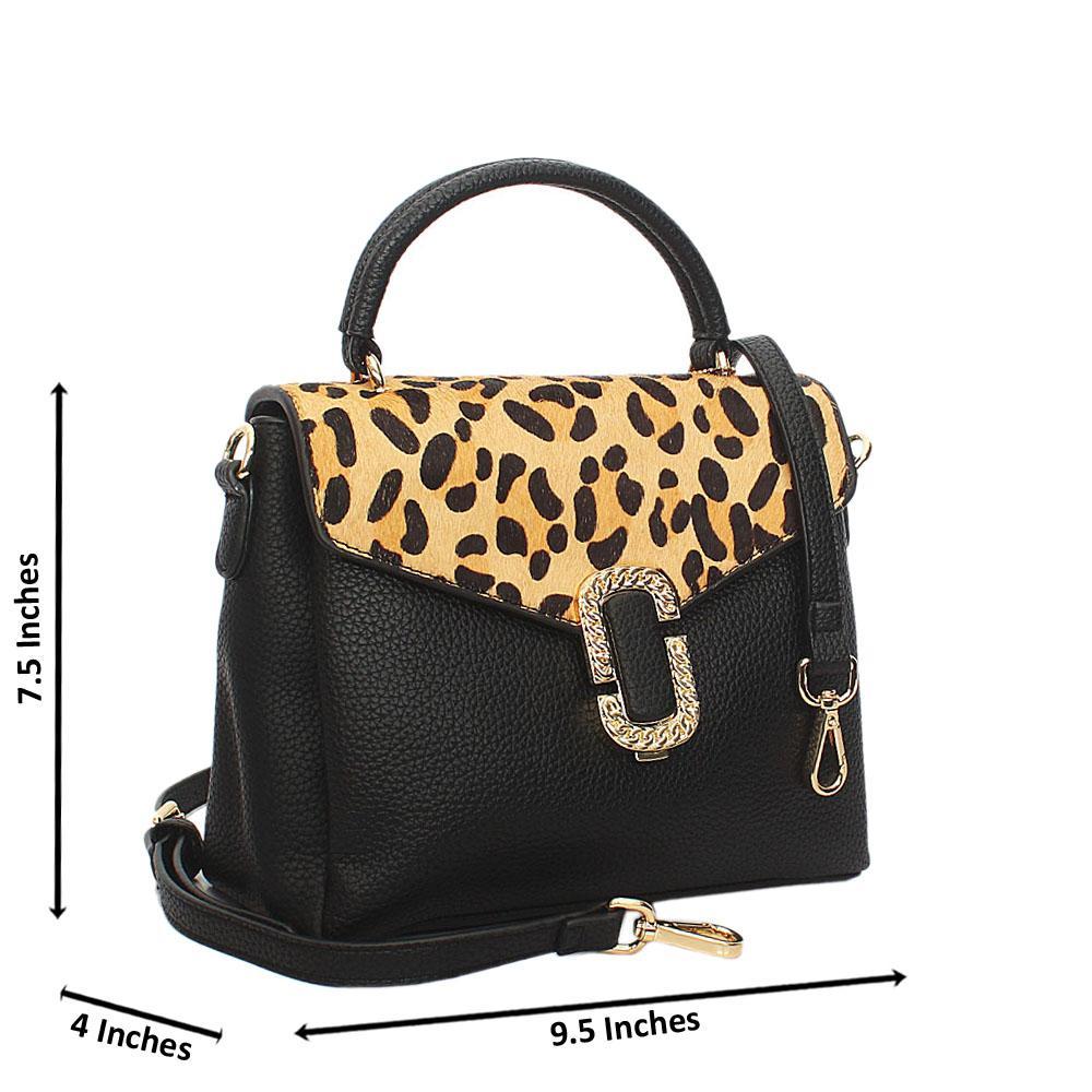Black Brown Elena Leather Small Top Handle Handbag