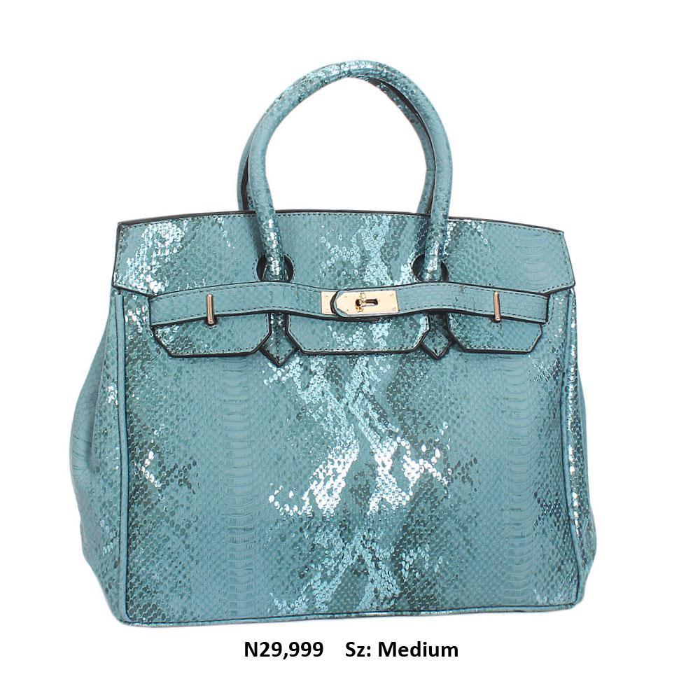 Turquoise Blue Snake Leather Tote Handbag