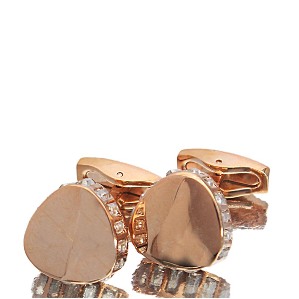 Rose Gold White Ice Stainless Steel Cufflinks