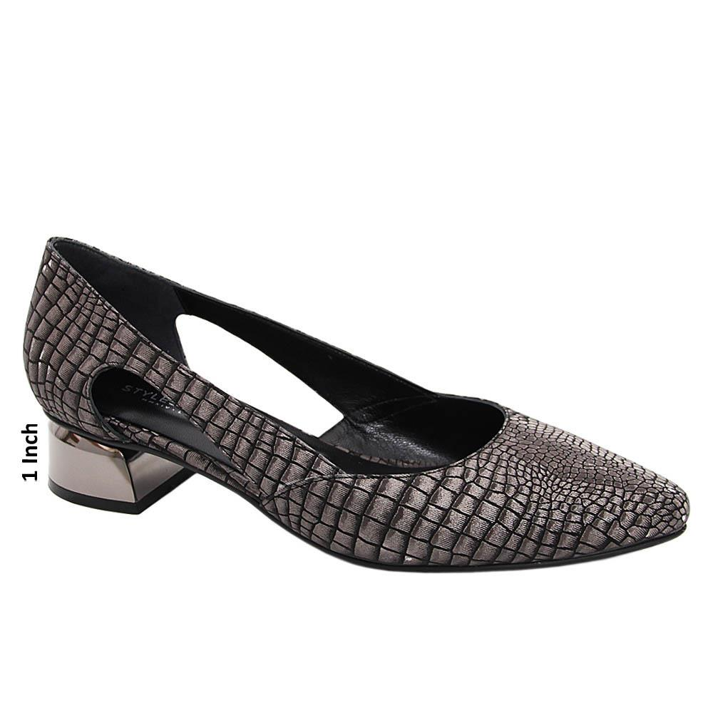 Gray Black Leticia Cut-Out Tuscany Leather Low Heel Pumps