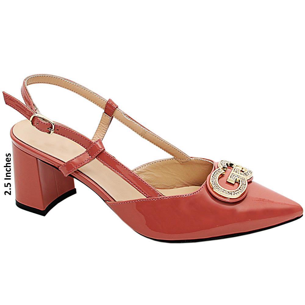 Peach Gianna Patent Italian Leather Slingback Mid Heel Pumps