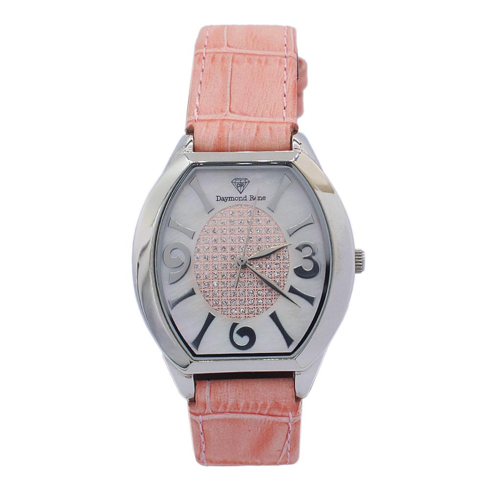 DR 3ATM Silver Pink Leather Flat Ladies Watch