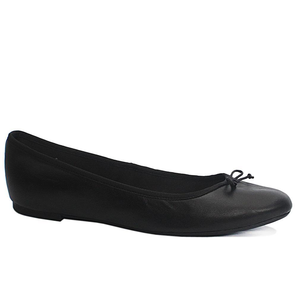 M&S Black Leather Ladies Flat Shoe