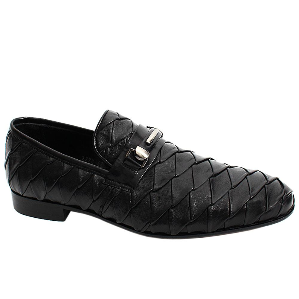 Black Patterned Italian Leather Men Penny Loafers