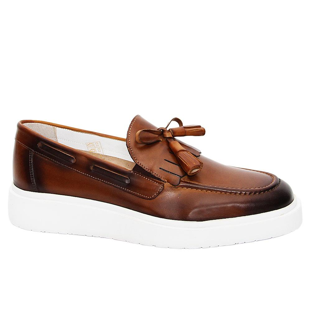 Brown Tarquin Italian Leather Slip-On Sneakers