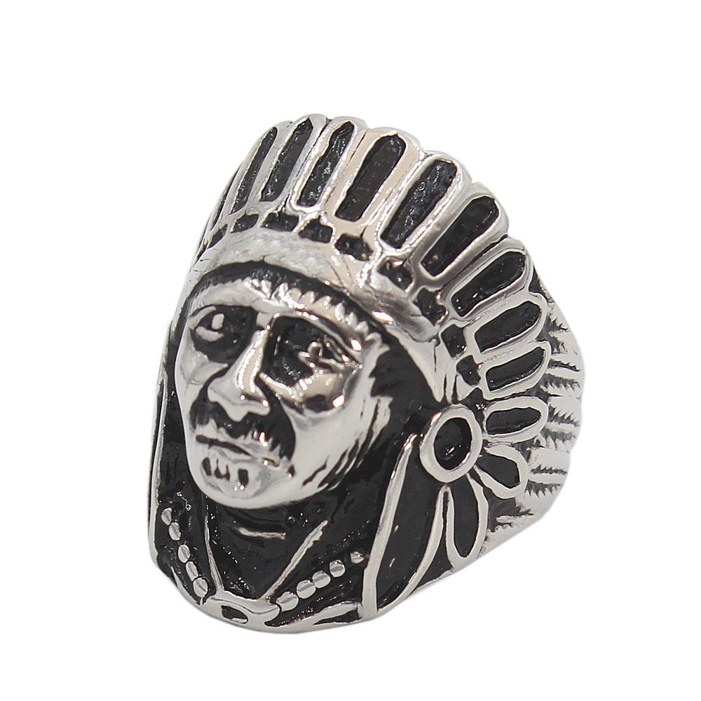 Stainless Steel Red Indian Ring