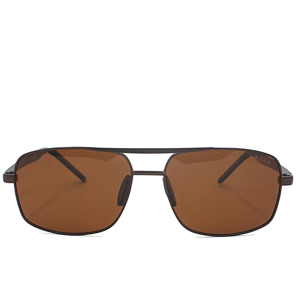 Brown Rectangle Face Aviator Sunglasses