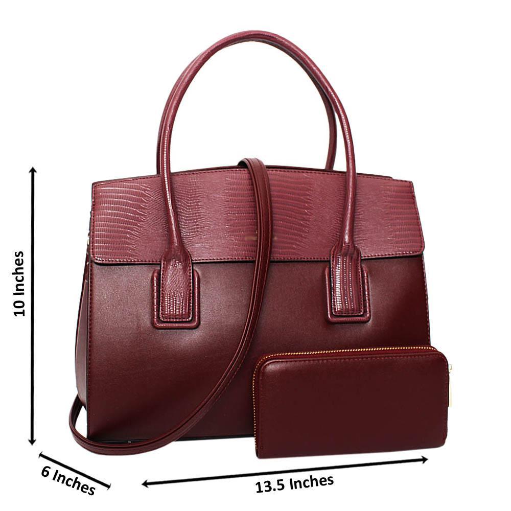 Burgundy Vanessa Mix Snake Leather Medium Tote Handbag