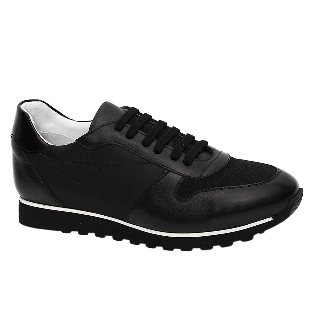 Black Montego Mix Fabric Italian Leather Sneakers