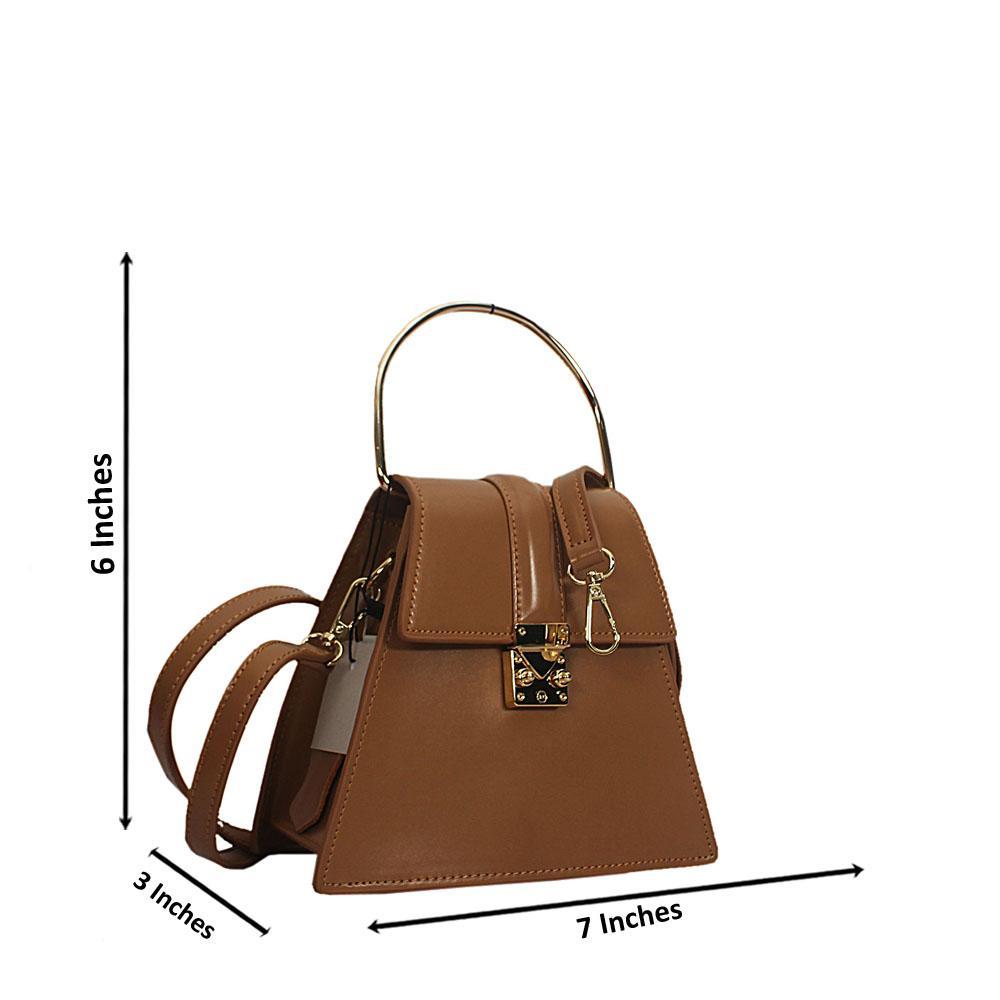 Light Brown Nessa Montana Leather Mini Top Handle Handbag