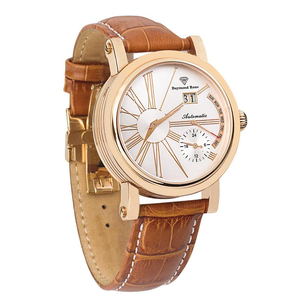 DR 3ATM Cinnamon Brown Rose Gold Leather Automatic Watch