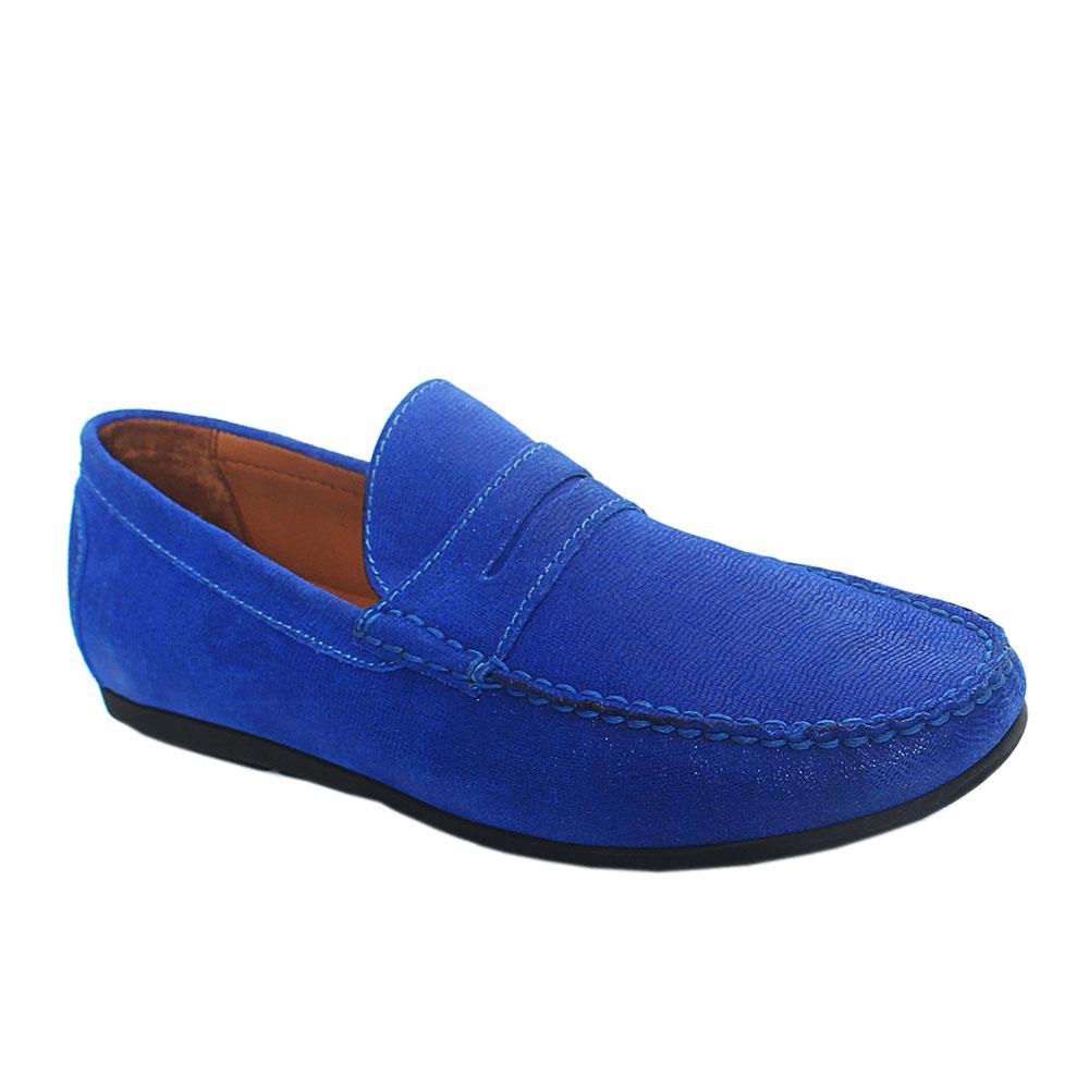 Royal Blue Glitz Leather Drivers Shoes
