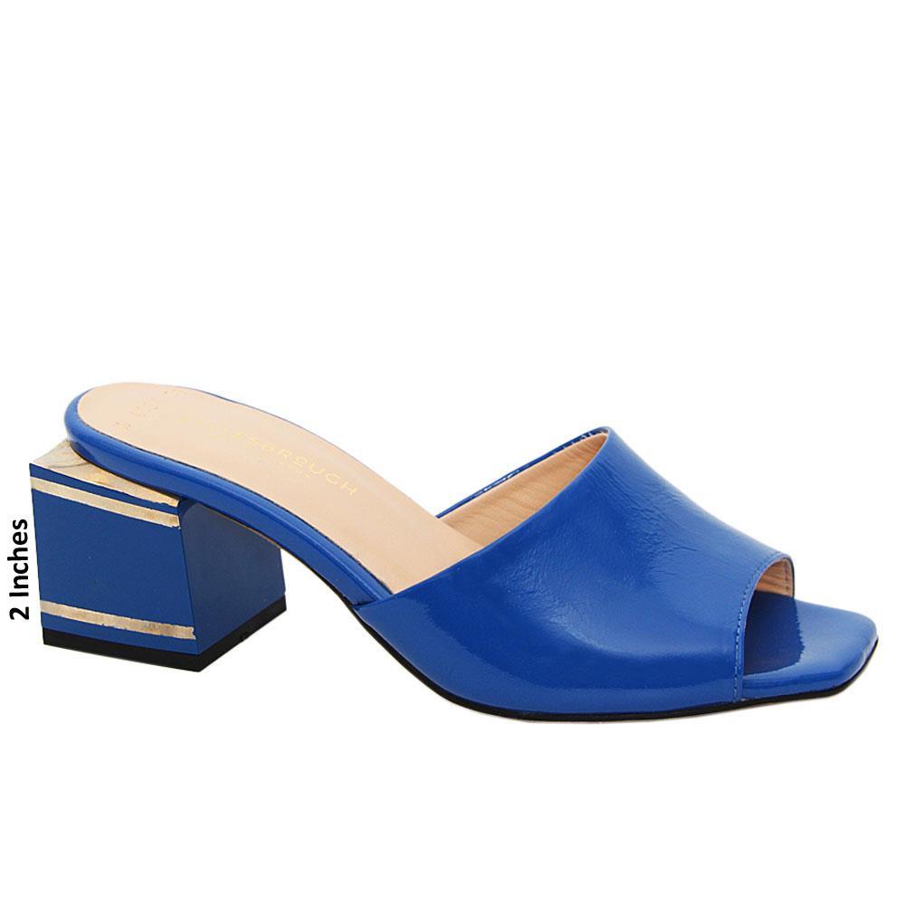 Blue Simona Patent Italian Leather Mid Heel Mule