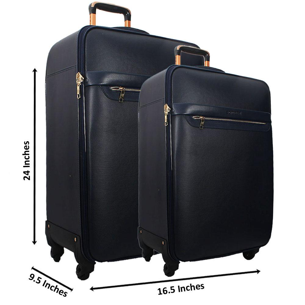 Navy 24 Inch Wt 20 Inch 2 in 1 Leather Luggage Set