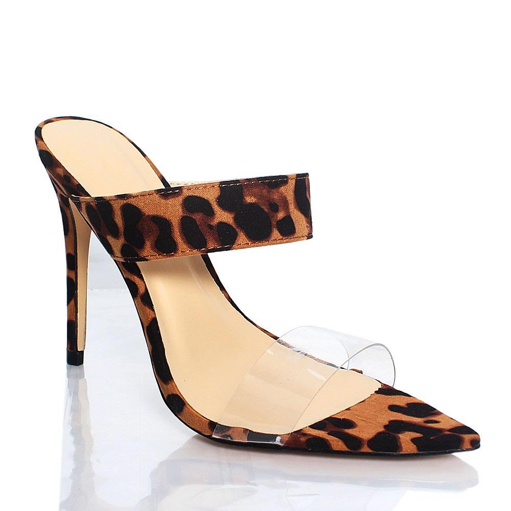 Leopard Skin AM Liz Leather 4.2 Inch High Heel Slippers