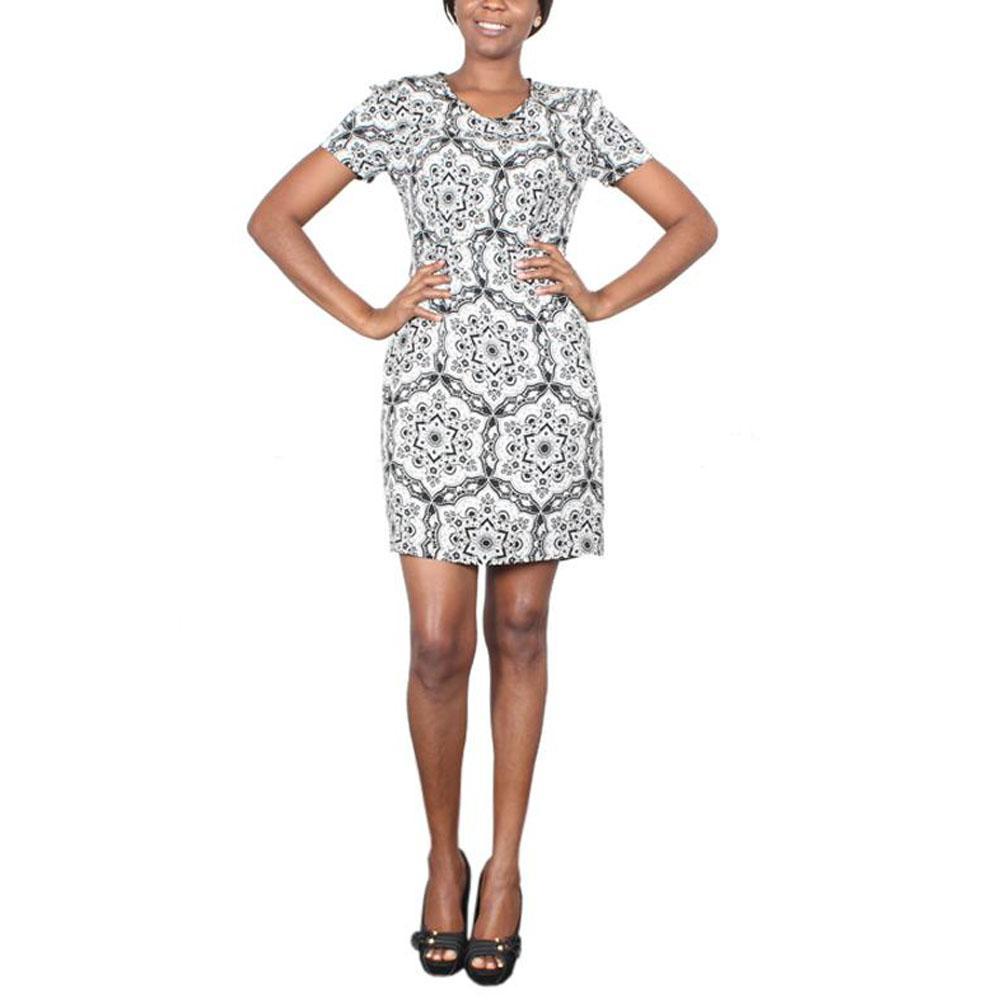 Cream-Black Partern Ladies Dress-Sz 8