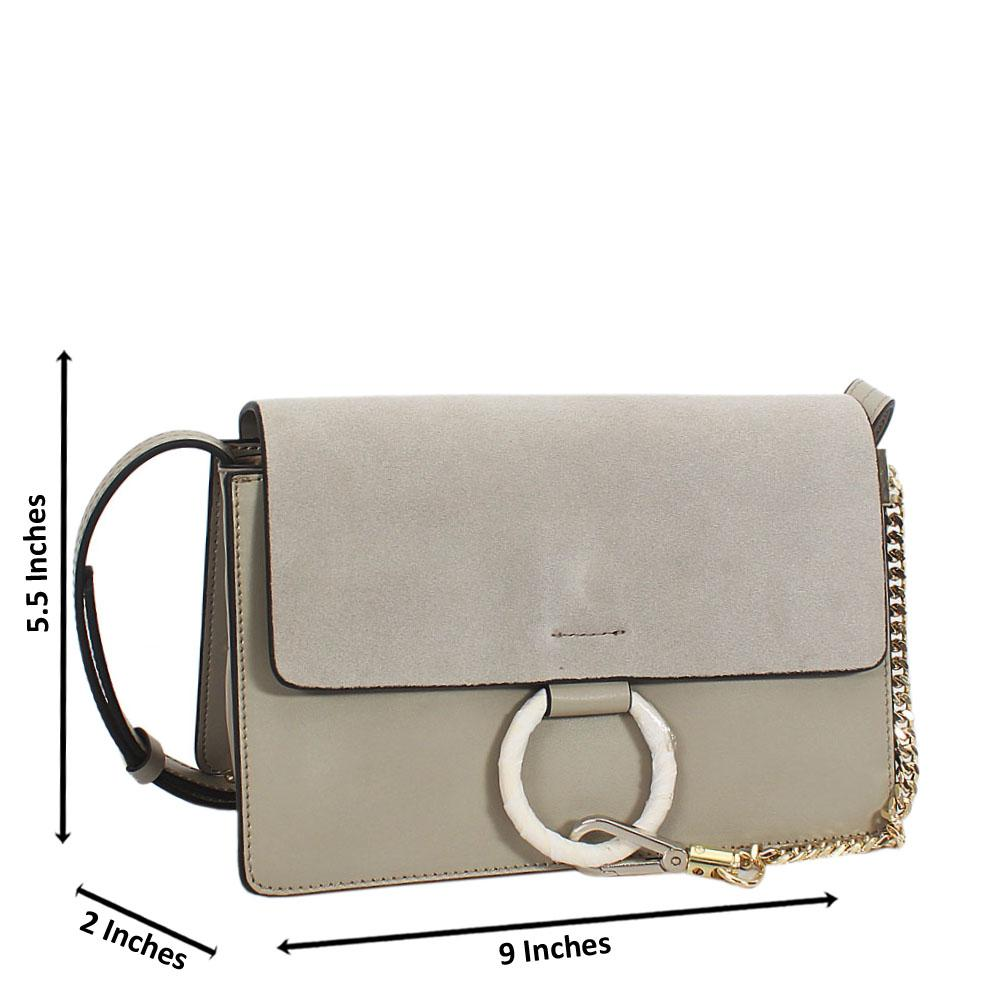 Gray Natale Suede Leather Mini Crossbody Handbag