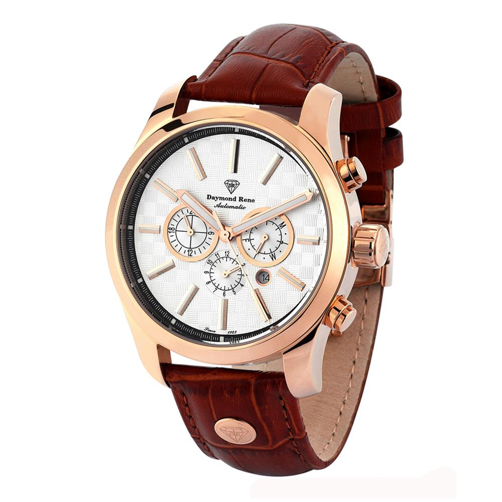 DR 3ATM Brown Rose Gold Leather Automatic Watch
