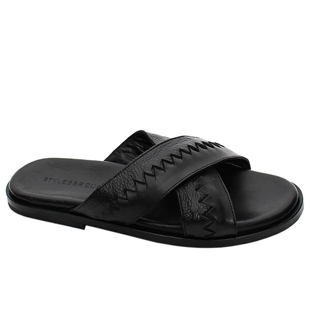 Black Primo Mix Italian Leather Men Slippers